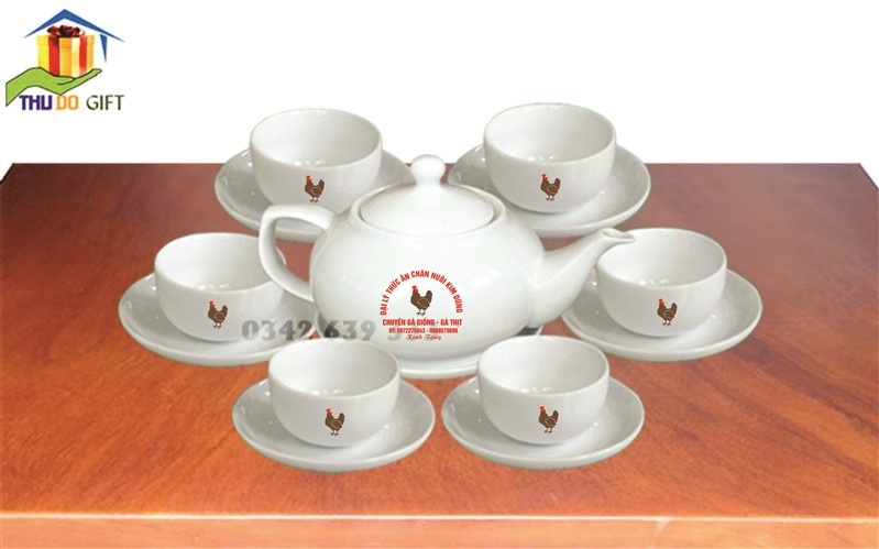 Bộ ấm chén Giang Tây Bát Tràng in logo