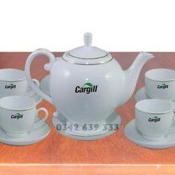 Bộ ấm chén dáng Camelia in logo