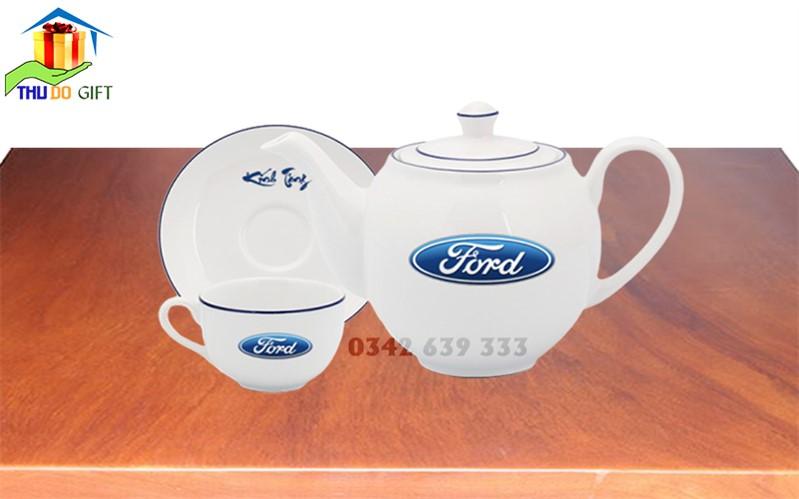Bộ ấm trà dáng Minh Long in logo Ford