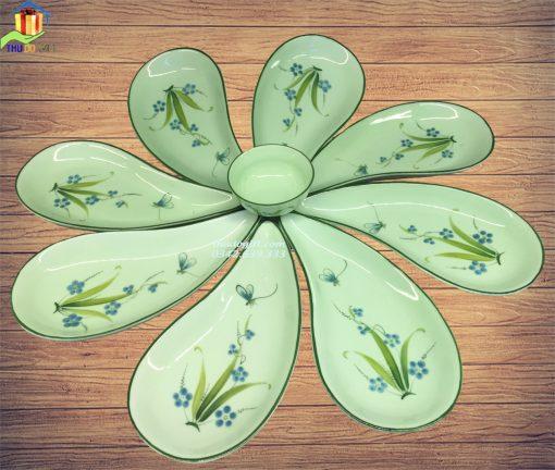 Bộ đĩa ăn giọt lệ vẽ chuồn cỏ