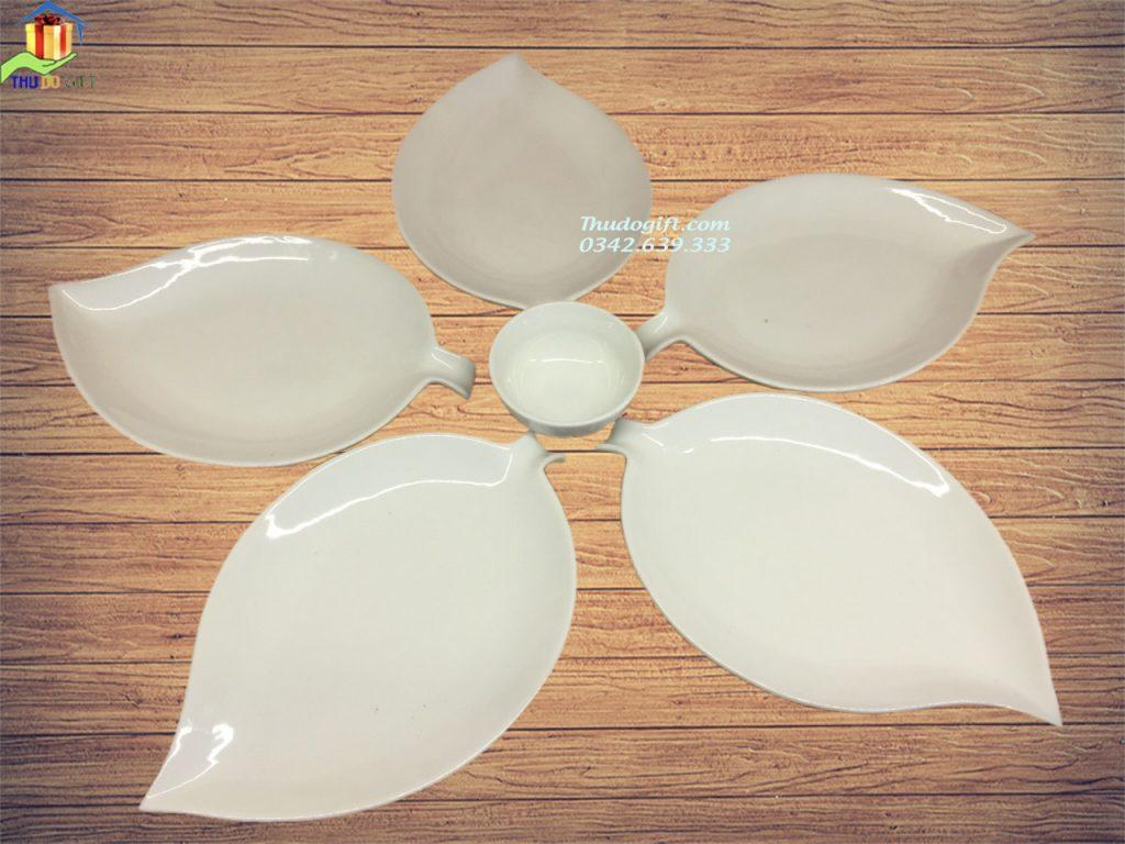 Bộ đĩa lá trầu trắng sứ