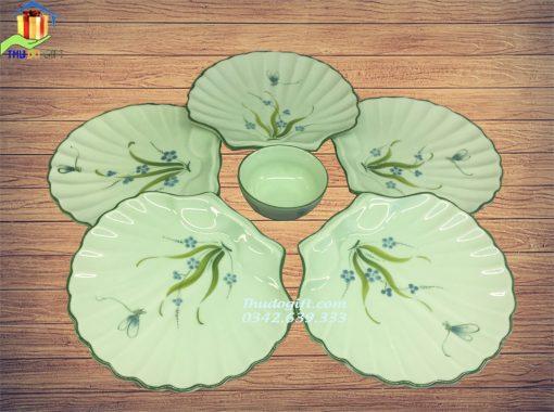 Bộ đĩa sò vẽ chuồn cỏ men ngọc