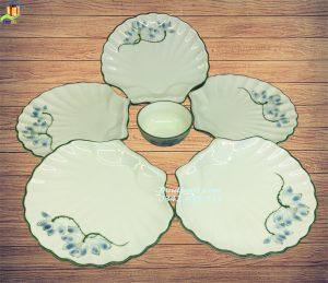 Bộ đĩa sò vẽ sen xanh men kem - SSXK06