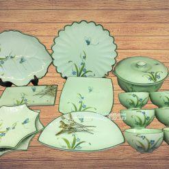 Bộ đồ ăn vẽ chuồn cỏ men ngọc - MN14