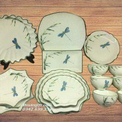 Bộ đồ ăn vẽ chuồn trúc men kem - MK14