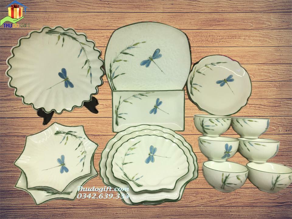 Bộ đồ ăn vẽ chuồn trúc men kem - CTMK14