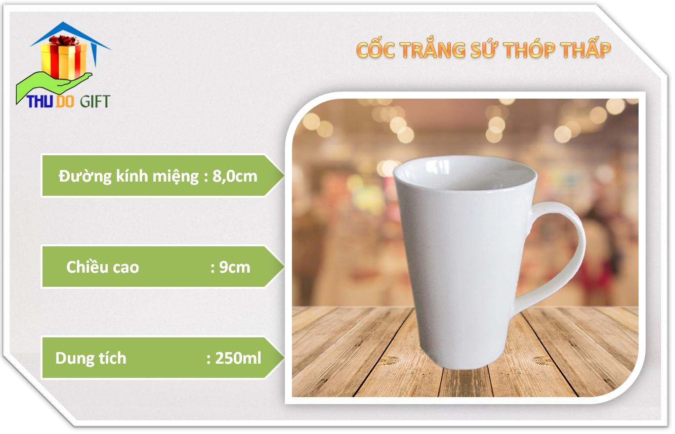 Thông số kỹ thuật cốc trắng sứ thóp thấp