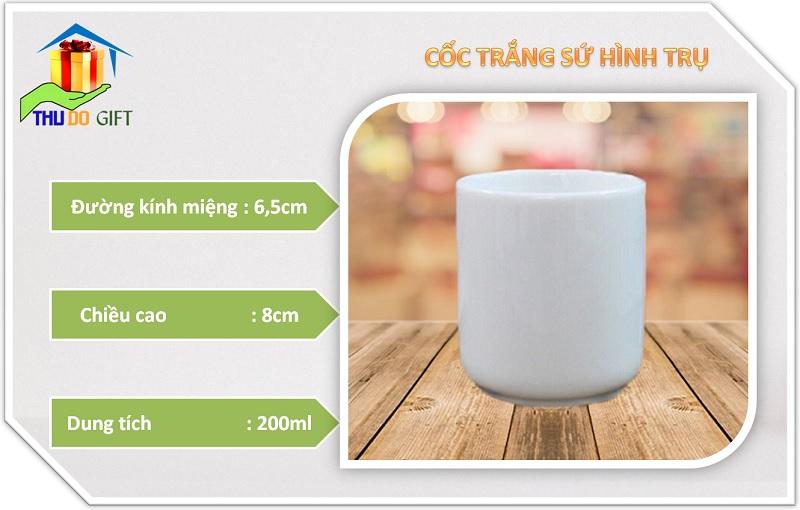 Thông số kỹ thuật cốc sứ trắng trụ