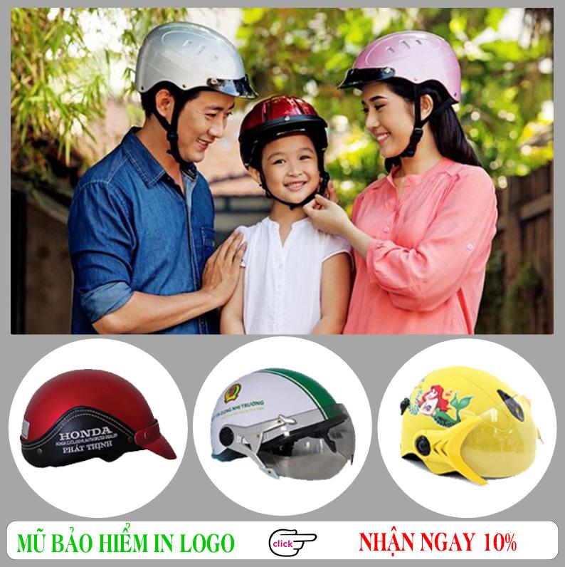 Mũ bảo hiểm khuyến mại in logo