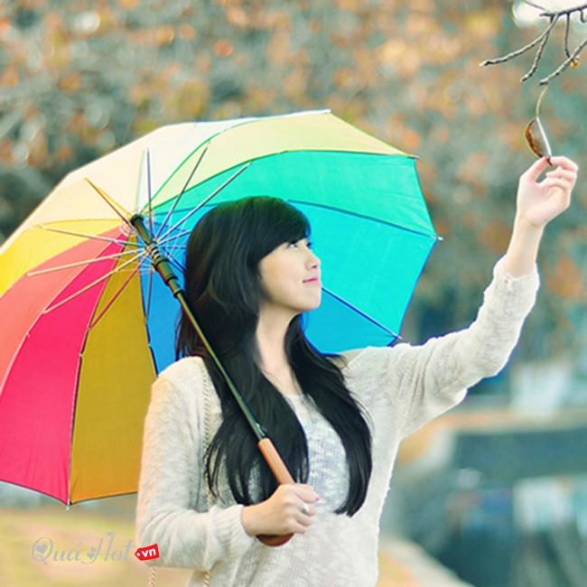 Ô dù 7 sắc gấp gọn phong cách Hàn Quốc
