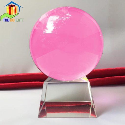 Quả cầu pha lê phong thủy màu hồng