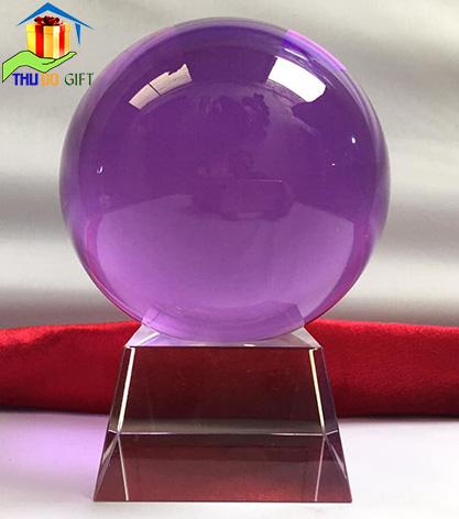Quả cầu pha lê phong thủy màu tím