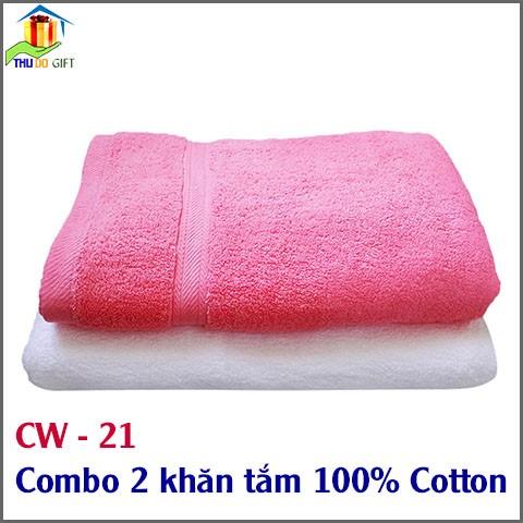 Combo 2 khăn tắm sợi Cotton CW21