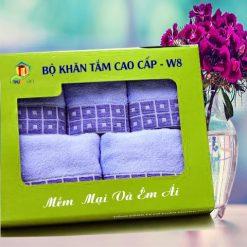 Combo Khăn Cotton Quà Tặng Cao Cấp CW8