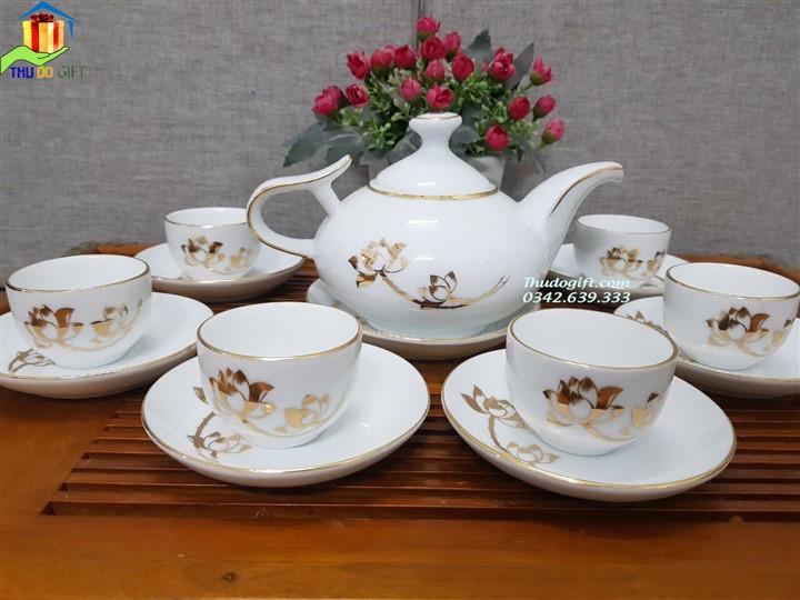 Bộ ấm trà vòi voi in logo, bộ ấm trà dáng Hàn Quốc