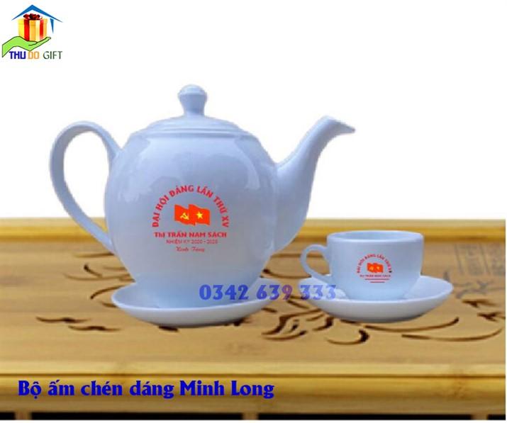 Bộ ấm trà dáng Minh Long in logo đại hội Đảng