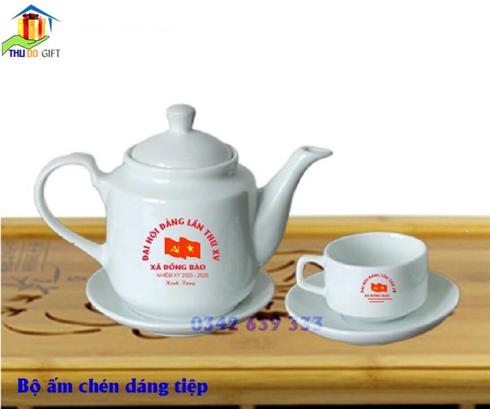 Bộ ấm trà dáng tiệp in logo đại hội đảng