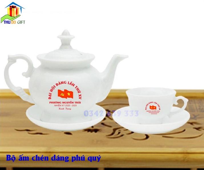 Bộ ấm chén dáng Phú Qúy in logo Đại Hội Đảng