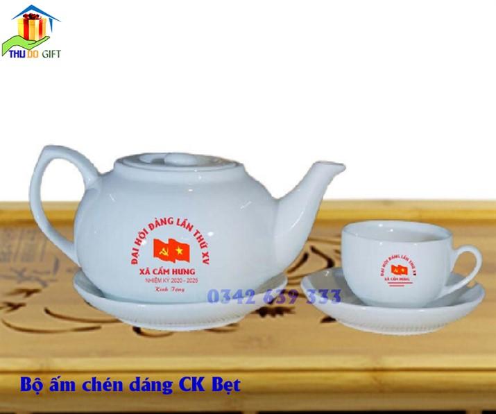 Bộ ấm trà dáng CK Bẹt in logo, bộ ấm chén dáng CK Bẹt in logo