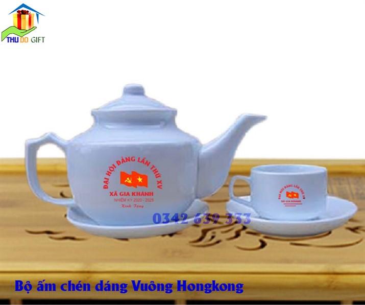 Bộ ấm trà dáng vuông HongKong in logo, bộ ấm chén Dáng vuông Hongkong in logo đại hội Đảng