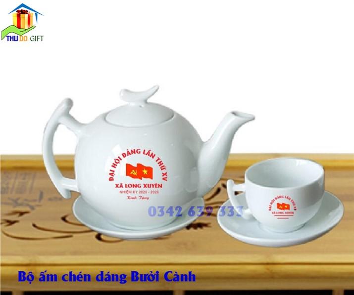 Bộ ấm trà dáng bưởi cành in logo đại hội đảng