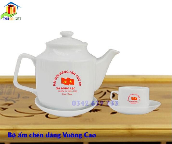 Bộ ấm trà dáng Vuông Cao in logo đại hội Đảng