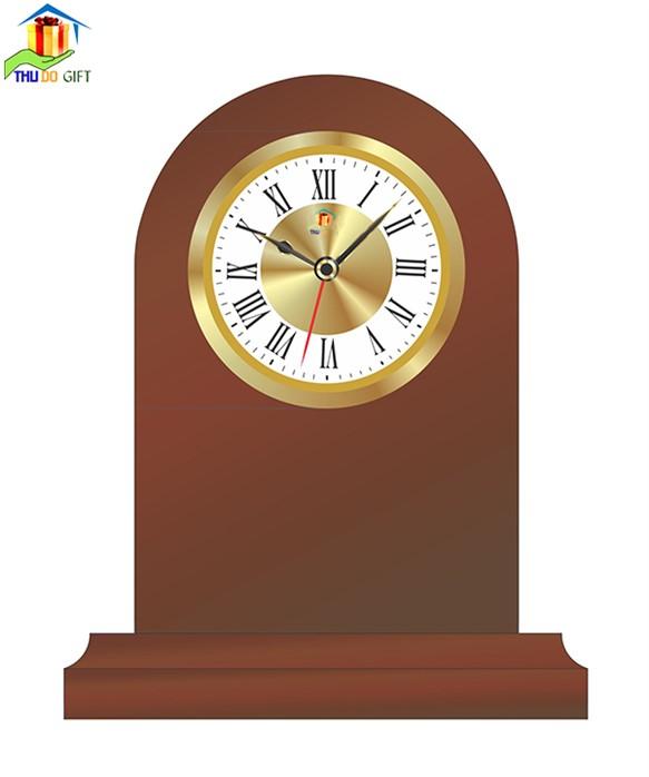 Đồng hồ để bàn bằng gỗ in logo
