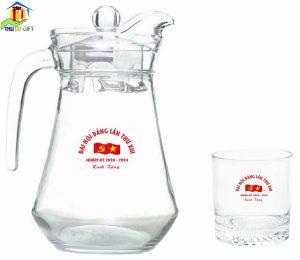 Bộ bình cốc thủy tinh in logo