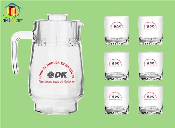 Bộ bình ly thủy tinh in logo