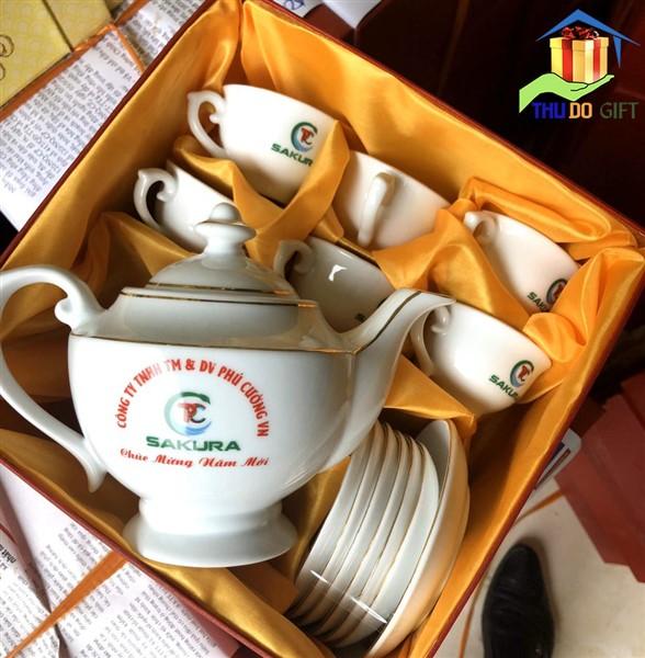 Bộ ấm trà in logo Công ty Phú Cường