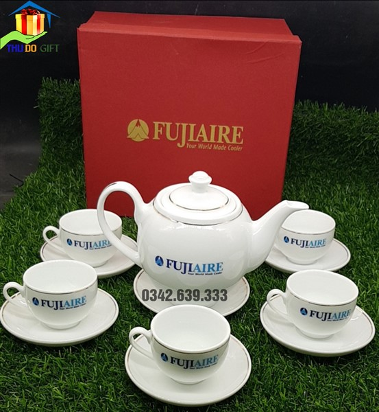 Bộ ấm trà dáng Minh Long in logo