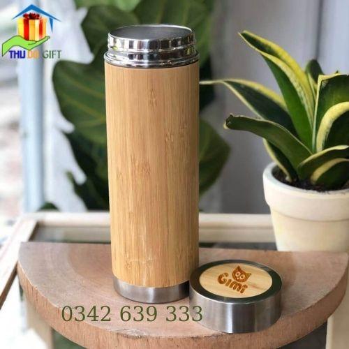 Bình giữ nhiệt vỏ tre Hà Nội in logo giá rẻ