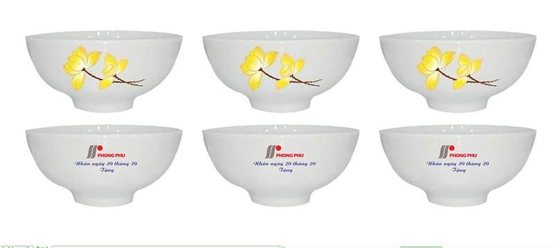 Bộ 6 bát ăn cơm in logo