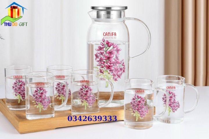 Mẫu bình hoa cao chịu nhiệt nắp inox - Bộ 6 cốc có quai